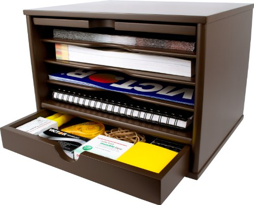 Victor Wood Desktop Organizer with Closing Door, B4720 (Mocha Brown) by Victor