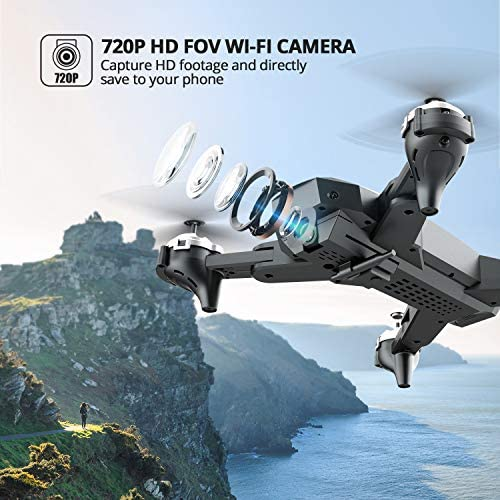 DEERC D10 Foldable Drone with Camera for Adults 720P HD FPV Live Video, Tap Fly, Gesture Control, Selfie, Altitude Hold, Headless Mode, 3D Flips, Quadcopter for Kids Beginners with 2 Batteries 24mins 51BM4f9fiZL