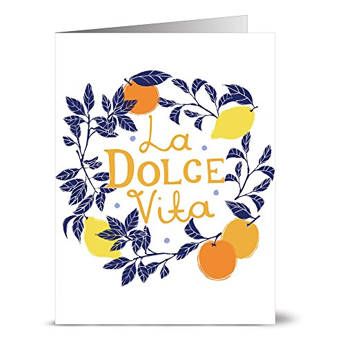 24 Note Cards - La Dolce Vita Wreath - Blank Cards - Yellow Envelopes Included ()