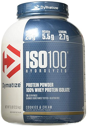 100% Whey Protein Cookies - Dymatize Nutrition ISO 100 Whey Protein - Cookies and Cream 5 Pounds