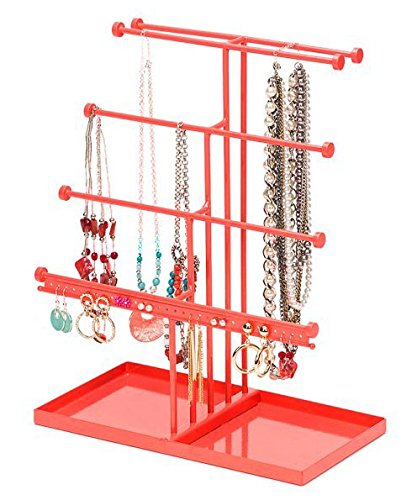 Display Earring Holder Jewelry (Castlencia Watermelon Red Black Velvet Tray Extra Large 5 Tier Tabletop Bracelet, Necklace, Earring Display Jewelry Tree – Jewelry Organizer Holder - Perfect Gift)