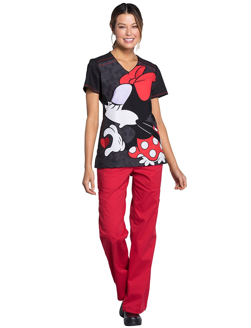 Cherokee Tooniforms by Women's V-Neck Knit Pane Mickey Mouse Print Scrub Top M