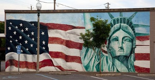 Bay Mural - Vintography Professionally Reproduced Photo: Photo American Flag & Statue Liberty Mural,Bay Minette,Alabama,2010,South