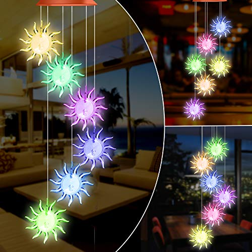 SIX FOXES Sunflowers Solar Powered Wind Chime Outdoor, Color-Changing Mobile Wind Chime Hanging Lights, Romantic D