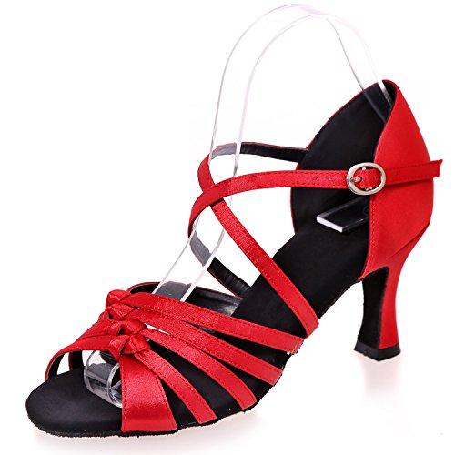 Scarpe da 7 Donna Jazz Tango Elobaby Tacco da Satin Ballo 5 cm Prom Standard Red Party Tacco Stqwdx1nw