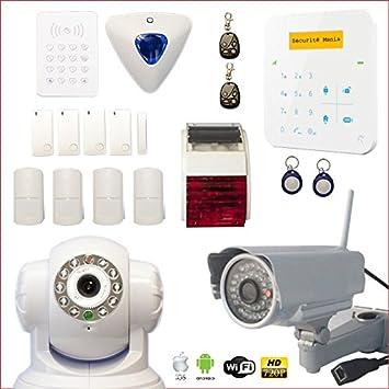 WiFi Alarmanlage Sicherheitssystem mit Kamera und Sirene Set