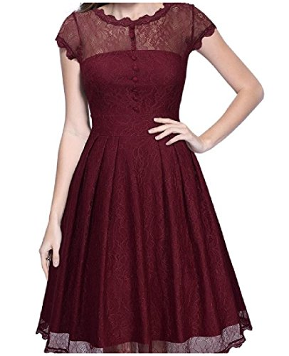 Wine Big Sleeve Contrast Dress Red Comfy Women Hem s Party Lace Solid Short EEPqT7