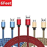 Micro USB Cable 3-Pack 6ft / 1.8m, BeneStellar Premium Nylon Braided USB 2.0 A Male to Micro B Charger Cord for Samsung, LG, Motorola, Nexus, HTC, Sony, Android Devices and More (Blue+Red+Gold)