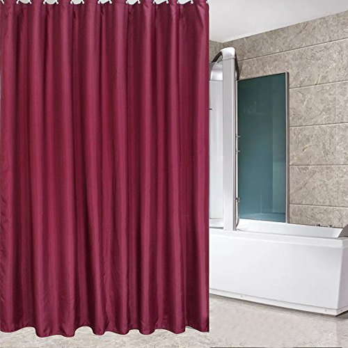 Eforcurtain Solid Mildew-Free Water-Repellent Fabric Shower Curtain for Home Extra Long 72 By 78-Inch, Burgundy Red
