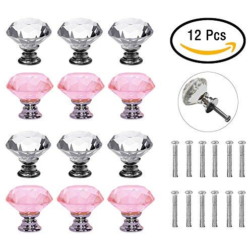 B.LeekS 12 PCS Transparent and Pink Crystal Glass Knobs, Drawer Puller, for Cabinet Dresser Cupboard