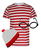Mens Knitted Hat Glasses Red and White T-Shirt Gents Set Fancy Dress Accessory Small