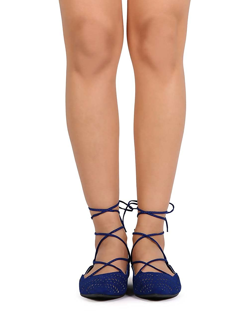 Qupid Women Suede Pointy Toe Hollow Out Gilly Tie Wrap Flat EB03 - Royal Blue B01C4CJFV6 7.5 M US