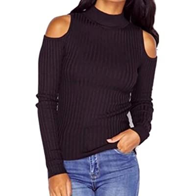 JXG Women's Sexy Cold Shoulder Turtleneck Warm Long Sleeve Pullover Knit Sweater