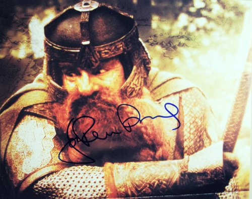 - 2001 - John Rhys Davies Autographed 8x10 Color Photograph - Obtained In Person - Gimli w/ Axe - Signed in Blue Sharpie - Mint - Rare - Collectible