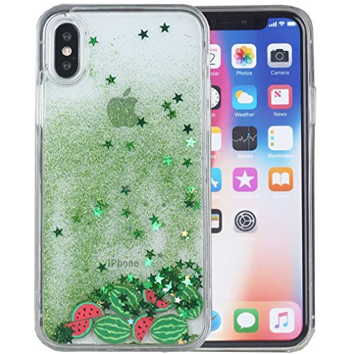 - iPhone X Case, iPhone Xs Case, iYCK Hard Back Panel and Soft Rubber TPU Flowing Floating Liquid Infused Quicksand Bling Glitter Sparkle Protective Case Cover for iPhone X/Xs 5.8inch - Watermelon