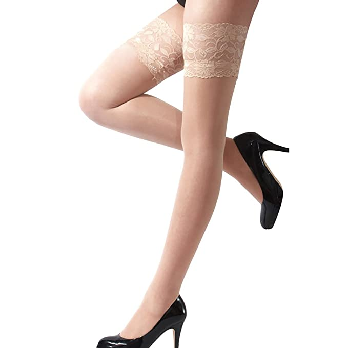 349c81d0e6930 Pinkcream Women's Sexy Floral Lace Top Sheer Stockings Thigh High Over The Knee  Stockings (Beige