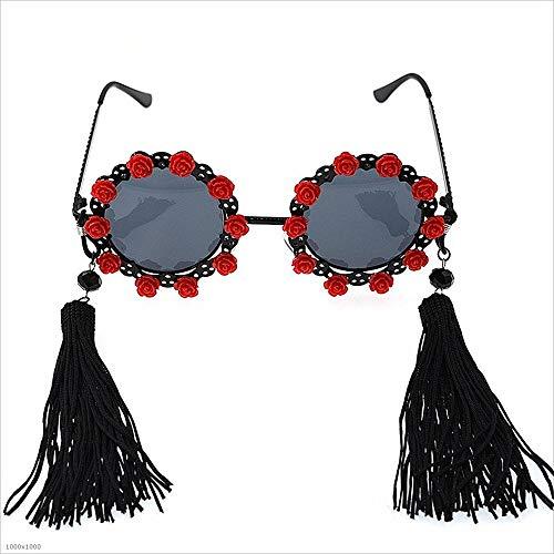 pour Vacances Et Tassels Elegance Sunbobo De Soleil Lunettes Blanc Polarized Partie Rouge de de pêche Couleur Classical Flower Femmes zZFq1