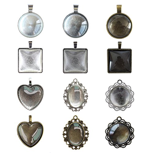 12 Styles Bundle 24 Pcs Pendant Trays, Round, Oval, Square, Heart, Flower Circle in Silver, Antiqued Silver & Bronze with 24 Pcs Glass Cabochon Dome Tiles for Crafting DIY Jewelry Making, 48 Pcs