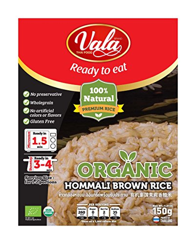 Vala Thai Food Ready To Eat Organic Hommali Brown Rice 5.29 Ounce (Pack Of 6) Small by Vala Thai Food