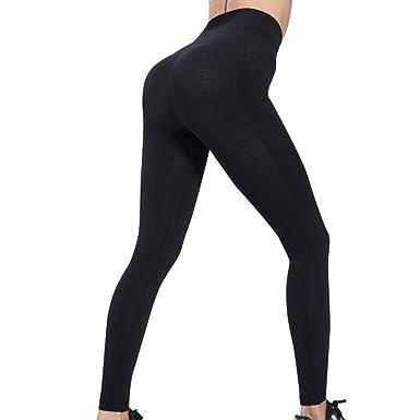 Pantalons Deportivos Sólido de Cintura Alta Pantalones de ...