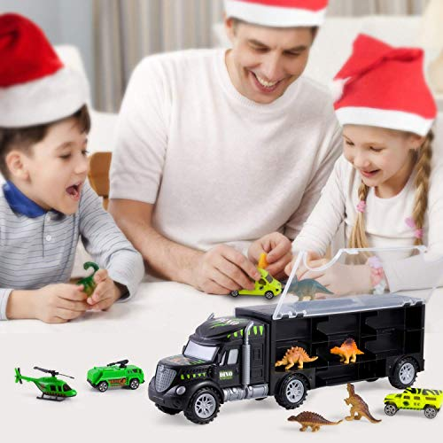 Dinosaur Transport Car Carrier Truck Toy with 6 Dinos 3 Matchbox Cars and 1 Helicopter, Toy Trucks Fits 13 Toy Car Slots Great Dinosaur Toys for Boys and Girls - by Gifts2U