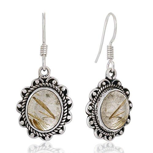 [925 Sterling Silver Golden Rutile Rutilated Quartz Gemstone Rope Edge Vintage Dangle Earrings 1.4