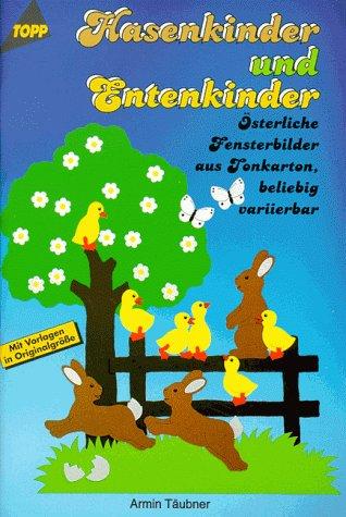 Hasenkinder und Entenkinder. Österliche Fensterbilder aus Tonkarton, beliebig variierbar.