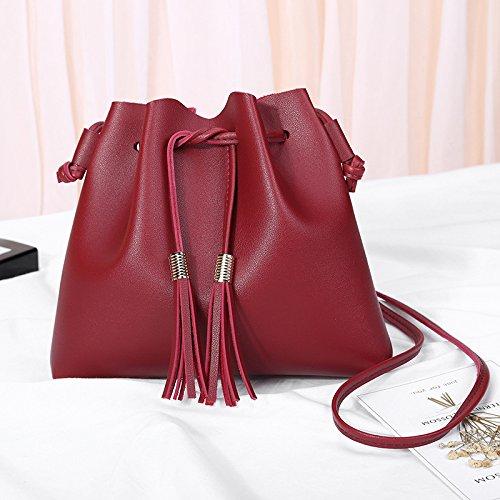 Pequeña Pequeña Bolsa De Borla Hombro Red Rosa Diagonal Bolsa Nombre Diagonal Simple En GUANGMING77 qSXZEwn