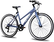 Hiland Hybrid Bike Urban City Commuter Bicycle for Women Comfortable Bicycle 700C Wheels 18 inch Frame with 7