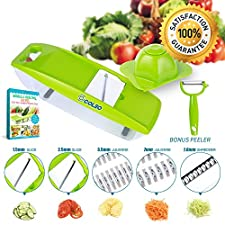 Mandoline Slicer, OCOLEO Julienne Vegetable Slicer - Potato Slicer - Cutter for Cucumber, Onion, Cheese with 5 Stainless Steel Blades with eBook, Peeler and Food Container - Mandolin
