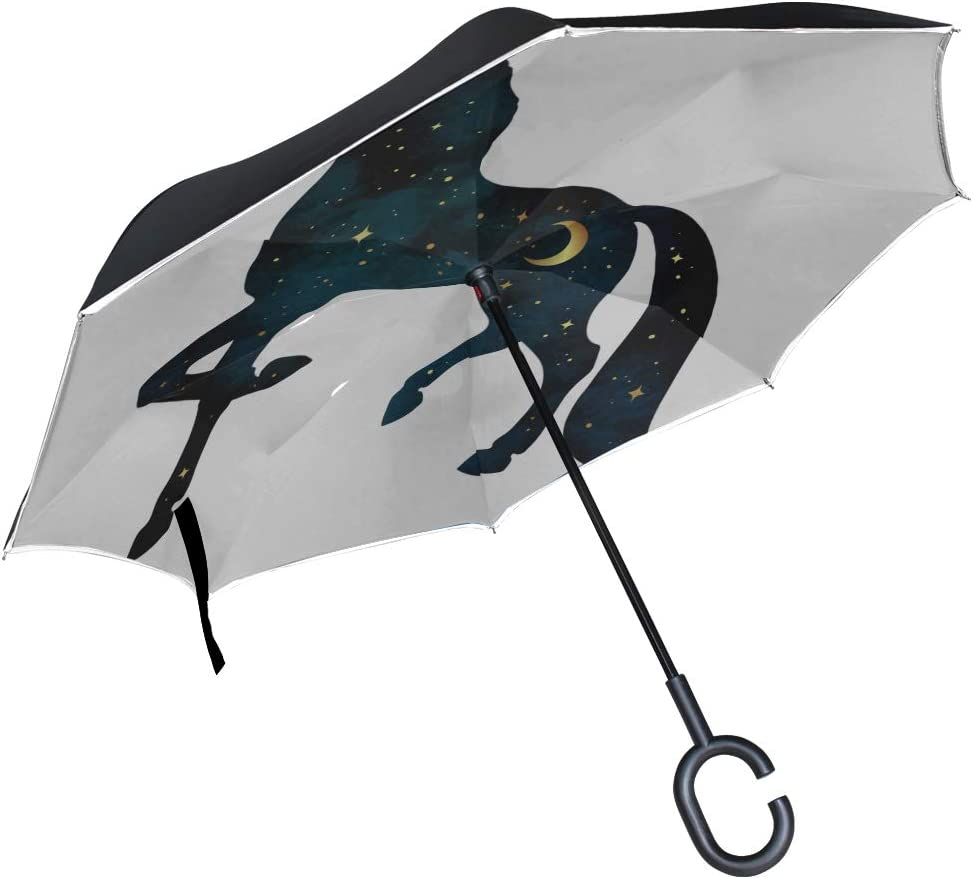 Double Layer Inverted Inverted Umbrella Is Light And Sturdy Silhouette Unicorn Crescent Moon Stars Isolated Reverse Umbrella And Windproof Umbrella E