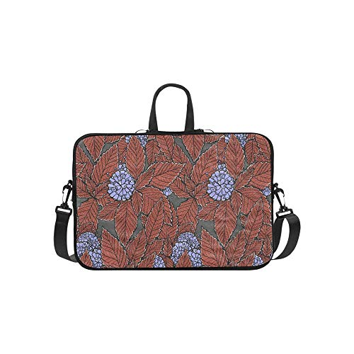 Laptop Bag Blue Mint Leaves and Mint Flowers Shoulder Bag Crossbody Bag Double Zipper for Men Women College Students Girl Business Travelling Work Business Trip