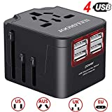 Universal Travel Adapter, JOOMFEEN All in One Worldwide Travel Charger AC Power Plug, International Wall Charger US EU AU UK with 4 USB Charging Ports, for Cellphone Pad Laptop (Black)