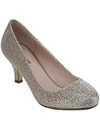 Wonda-1 Womens Round Toe Low Heel Glitter Dress Pumps