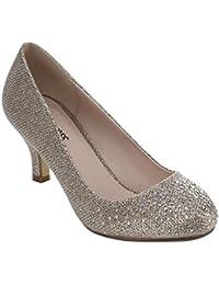 Wonda-1 Womens Round Toe Low Heel Glitter Slip On Dress...