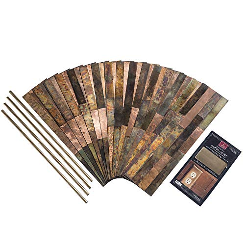 Aspect Peel & Stick Distressed Metal Panel (15 sq ft Kit, Bronze Relic)