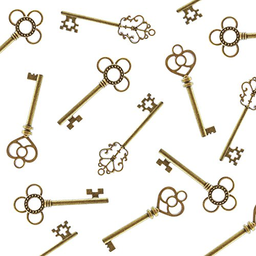 Antique Style Bronze Brass Skeleton Castle Dungeon Pirate Keys for Birthday Party Favors, Mini Treasure Toy Gifts, Medieval Middle Ages Theme (30 Pieces) (Gold) -