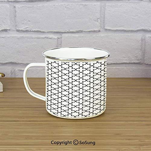 Arabian Enamel Camping Mug Travel Cup,Arabic Art Openwork Pattern in Arabian Style Cultural Monochromatic Art Print,11 oz Practical Cup for Kitchen, Campfire, Home, TravelCharcoal Grey