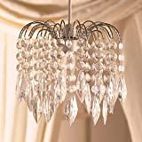 Clear Acrylic Crystal Tear Droplet Chrome Frame 3 Tier Chandelier Ceiling Shade Pendant