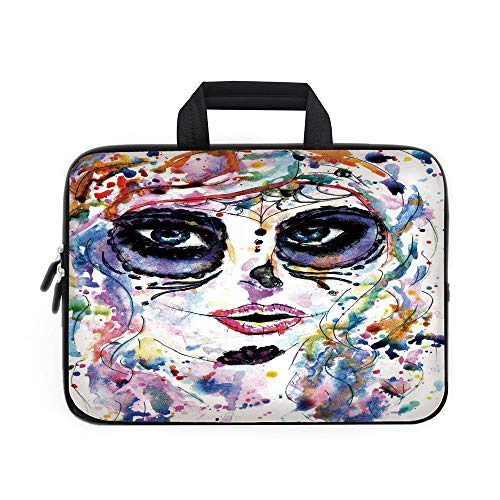 Sugar Skull Decor Laptop Carrying Bag Sleeve,Neoprene Sleeve Case/Halloween Girl with Sugar Skull Makeup Watercolor Painting Style Creepy Decorative/for Apple Macbook Air Samsung Google Acer HP DELL -
