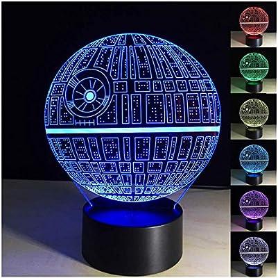 Amazon.com: huxueguang 3d ilusión óptica luz de noche BB-8 ...