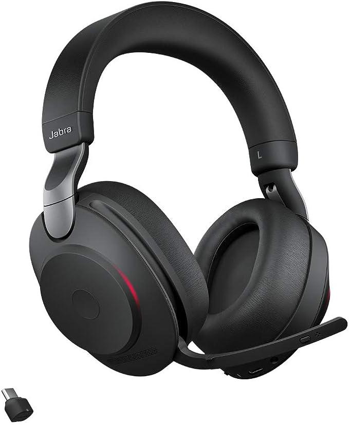Jabra Evolve2 85 Wireless Pc Headset Noise Cancelling Uc Zertifizierte Stereo Kopfhörer Mit Langer Akkulaufzeit Usb C Bluetooth Adapter Schwarz Elektronik