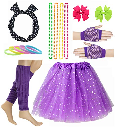 Girl 80s Star Sequin Tutu Skirt with Neon Necklace Bow Headband Hair Clip Set (Purple) ()