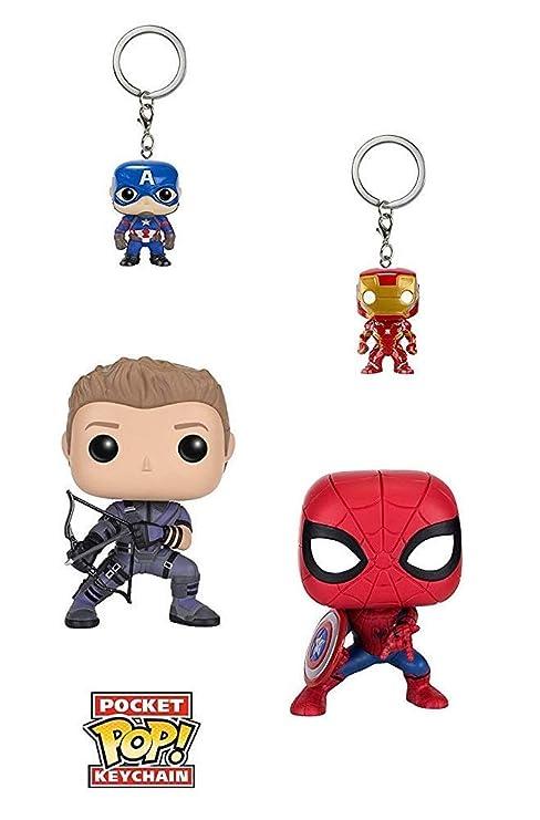 Funko POP Marvel: Civil War Hawkeye Spiderman, Iron Man & Captain America Keychain