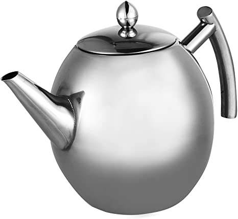 Double Walled Anti-Scalding Coffee Pot 1000ML Optional for Coffee Shop for Home with Filter Handle Insulation Tea Pot Silver 800ml // 1000ml