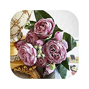Gooding life 2019 Beautiful Rose Peony Artificial Silk Flowers Small Bouquet Flores Home Party Spring Wedding Decoration Mariage Fake Flower,G 17
