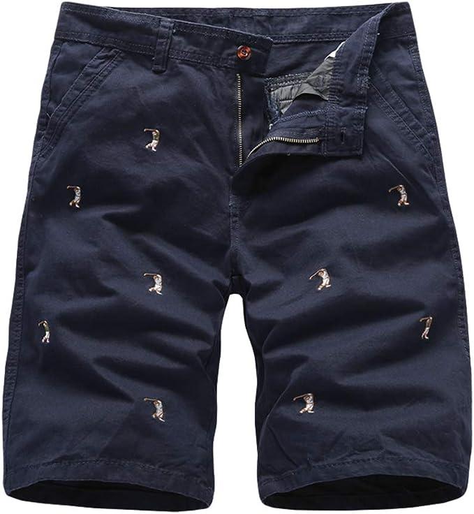 Xegood Hombre Cargo Shorts Algodón Pantalones Cortos Bolsillos ...