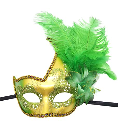 Women's Feather Masquerade Mask Venetian Halloween Mardi Gras Costumes Party Ball Prom Mask (ZA Green)]()