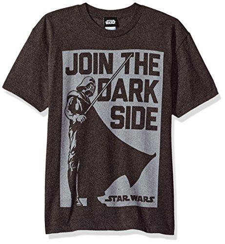 Star Wars Big Boys' Darth Vader Join The Dark Side Logo Graphic Tee, Charcoal Heather, (Side Logo Tee)