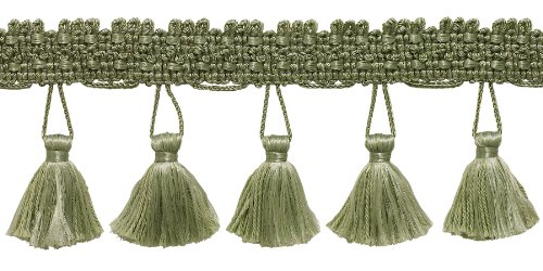 2.5 Inch Tassel Fringe Trim, Style# ETF Color: SAGE GREEN - L83, Sold By the Yard